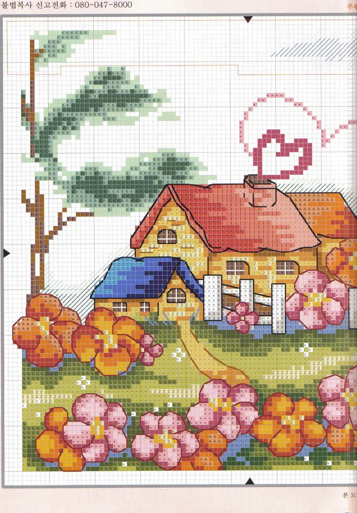 Вышивка крестом домики схемы разнообразных построек 47