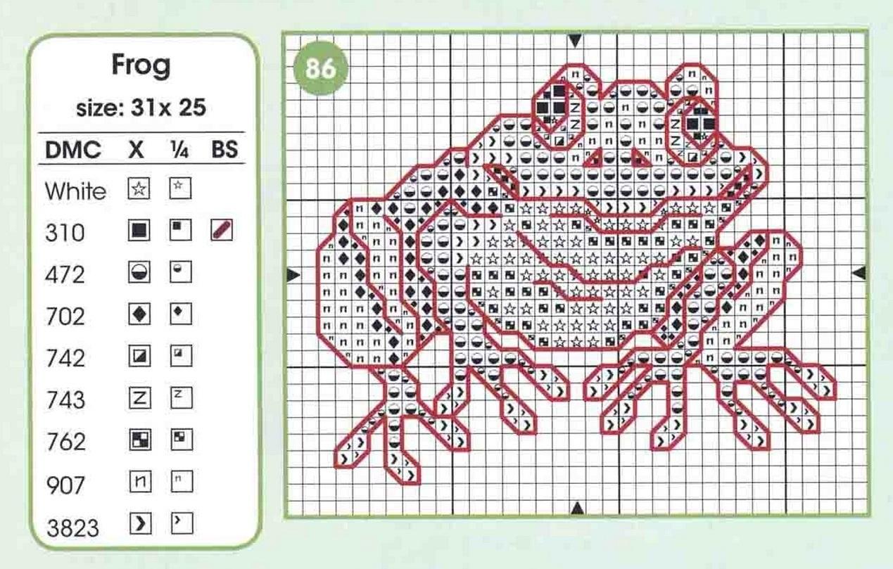 Схема вышивки лягушек 6