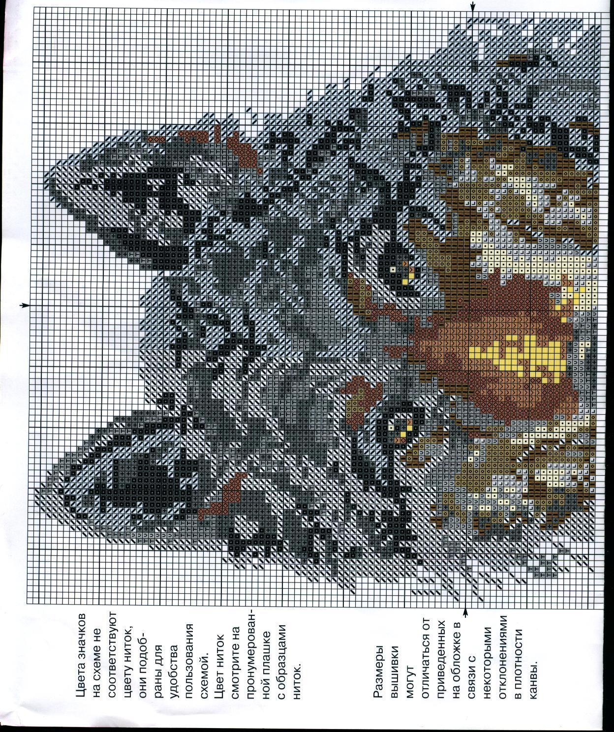 Вышивка крестиками схемы волки 822