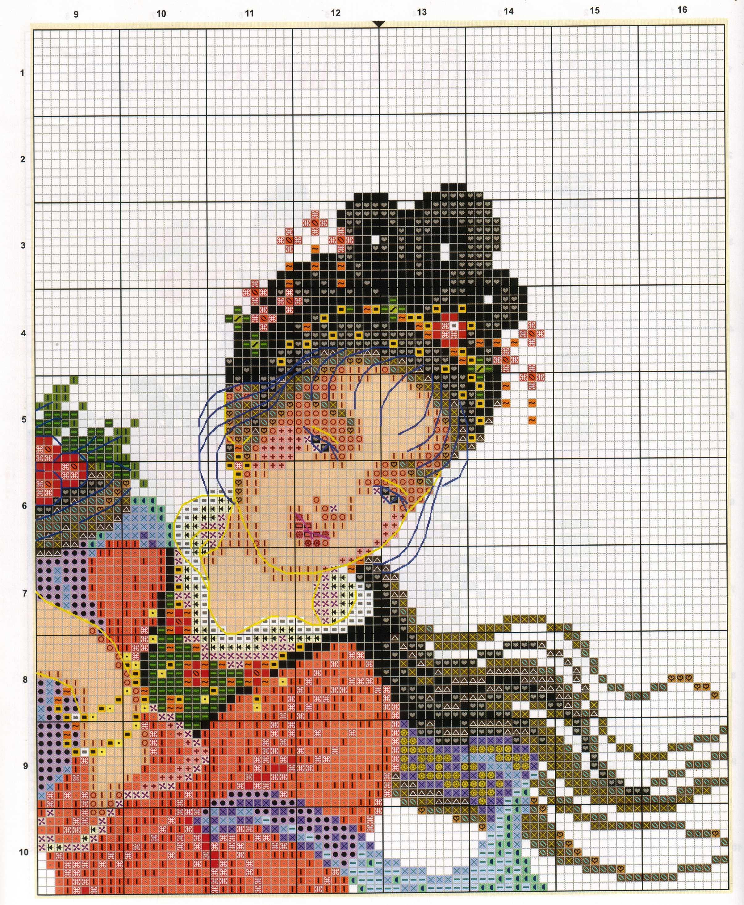 Схемы вышивки девушки крестом на канве