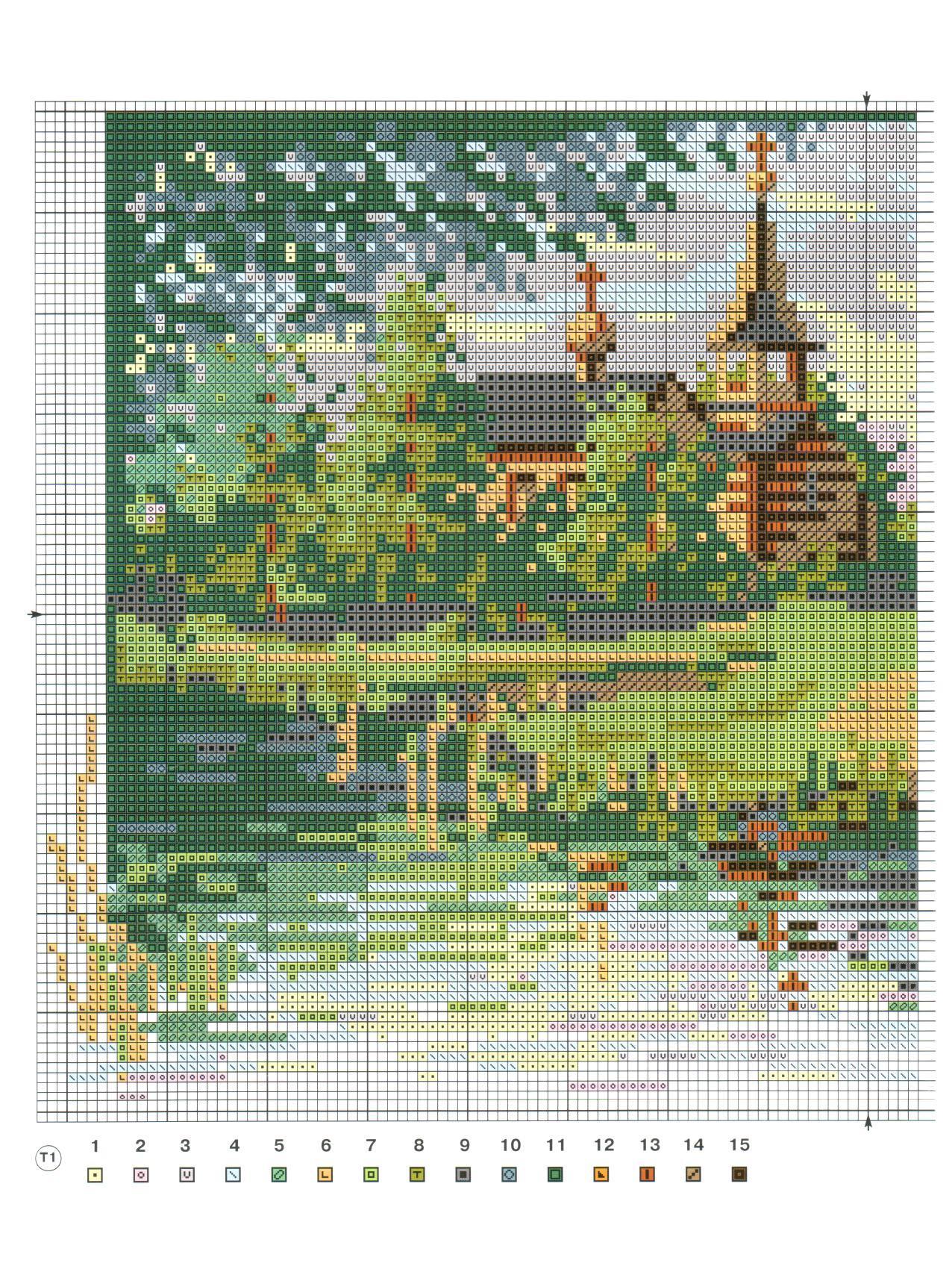 Вышивка крестом схемы бесплатно пейзажи больших размеров: зимний 22