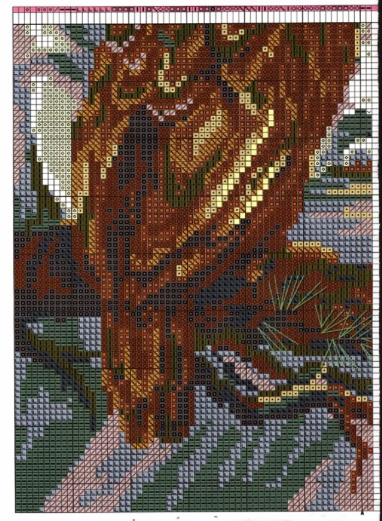 Схема для вышивки гладью орел 74