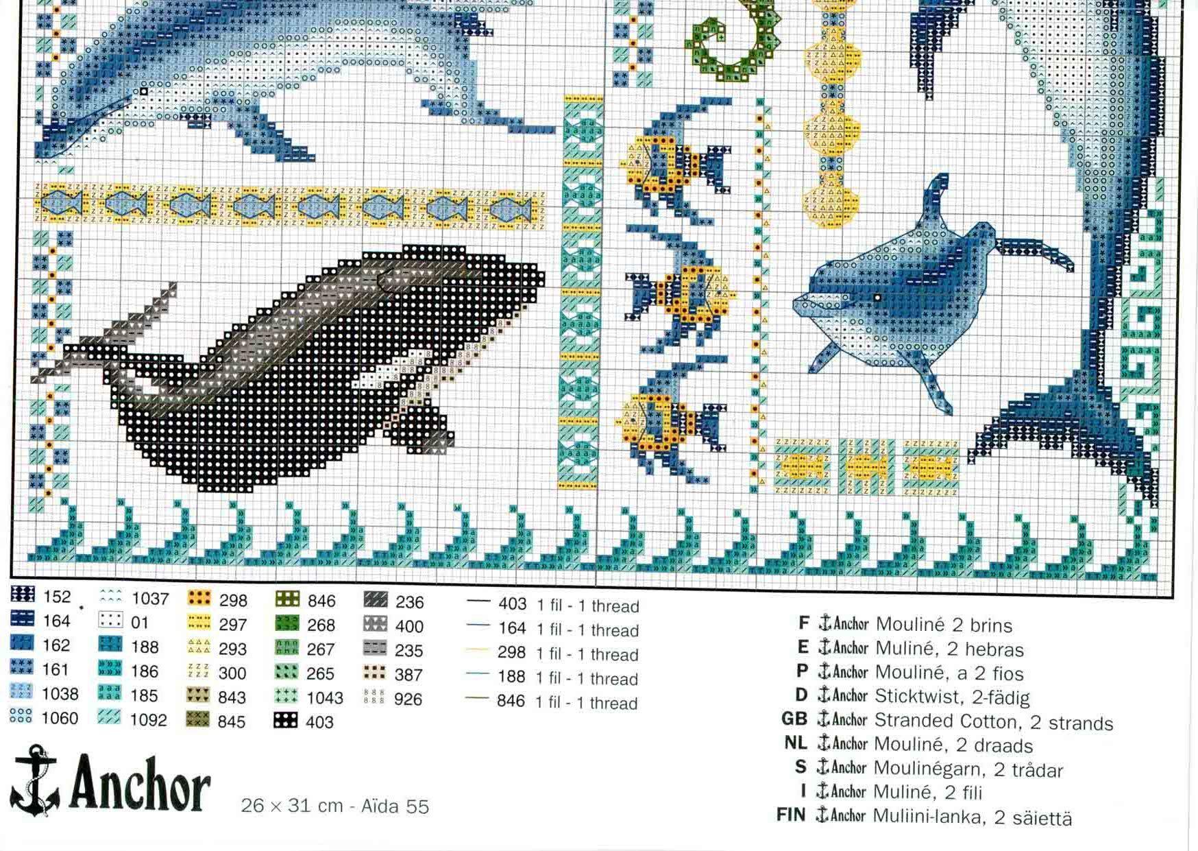 Дельфины при луне схема вышивки