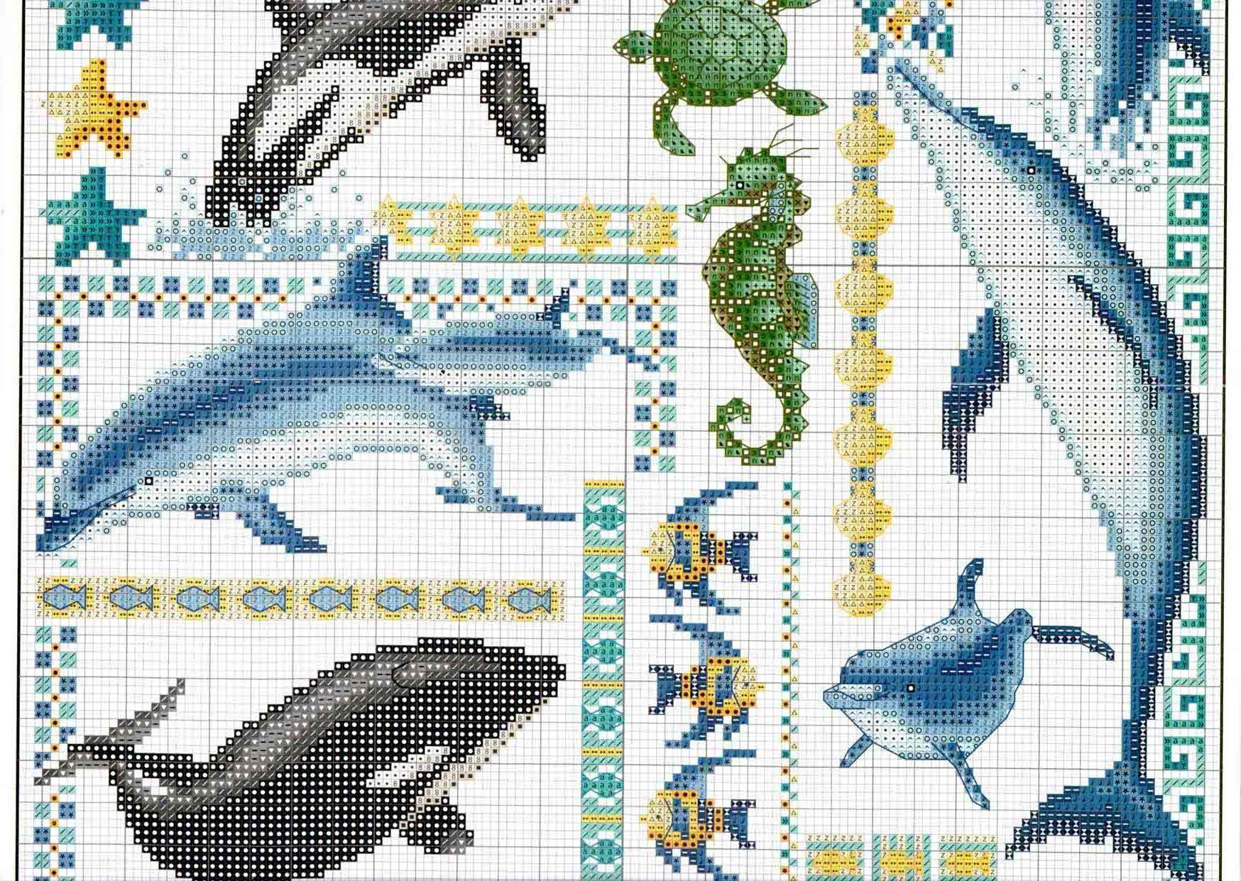 Вышивка крестом: Дельфины схема 17