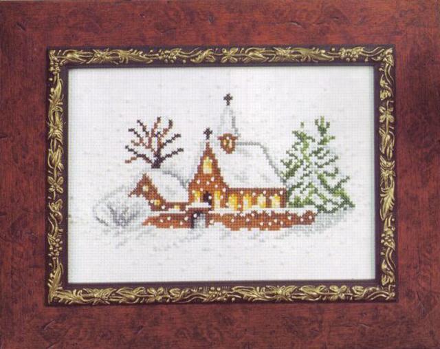 Схема вышивания крестом - Церковь в снегу
