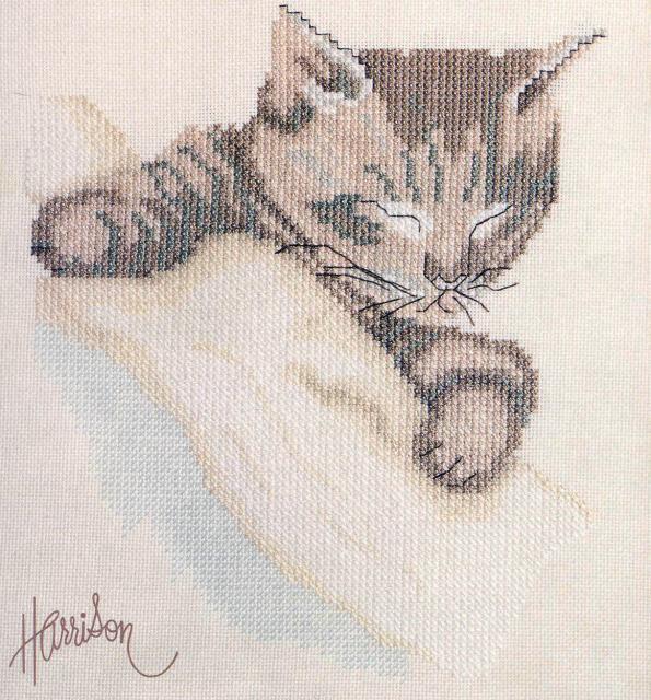 Схема вышивания крестом - Спящий котёнок