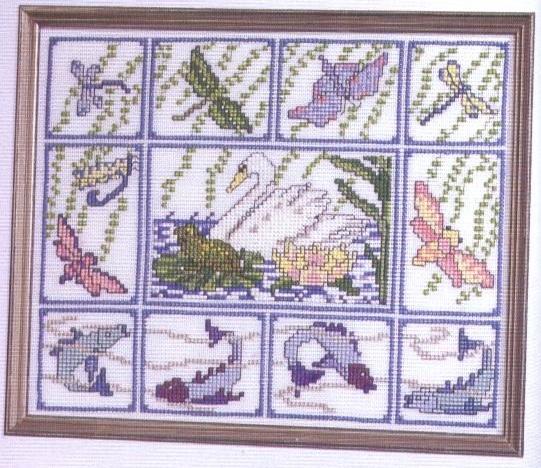 Схема вышивания крестом - На озере