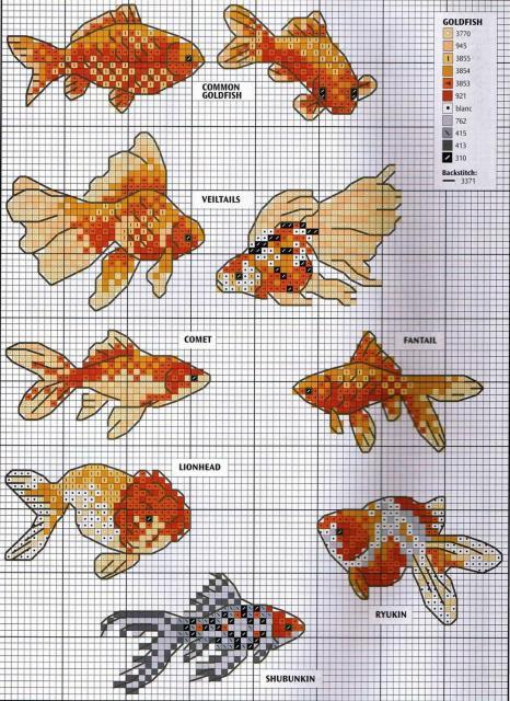 Схема вышивания крестом - Рыбки