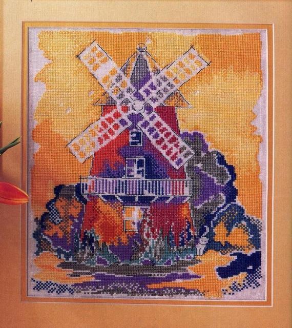 Схема вышивания крестом - Мельница Мулен Руж