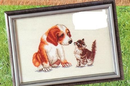 Схема вышивания крестом - Первая встреча, щенок и котёнок