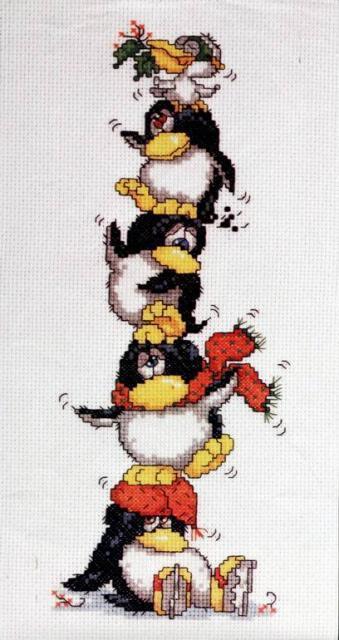 Схема вышивания крестом - Пингвины