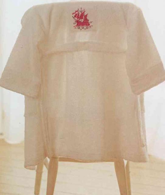 Схема вышивания крестом - Кораблик для детского халата