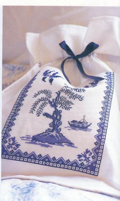 Схема вышивания крестом - Мешочек, Гжель