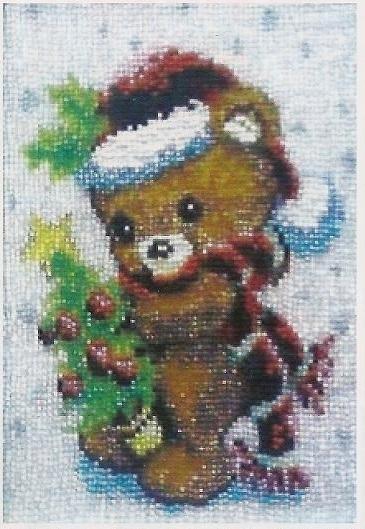 Схема вышивания бисером - Рождественский мишка