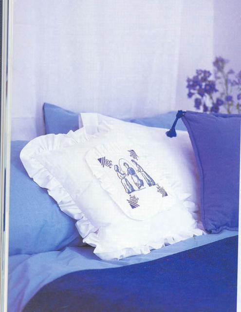 Схема вышивания крестом - Подушка, Гжель