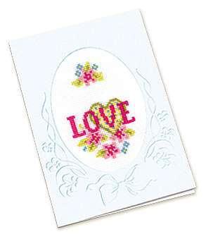 Схема вышивания крестом - Открытка Love
