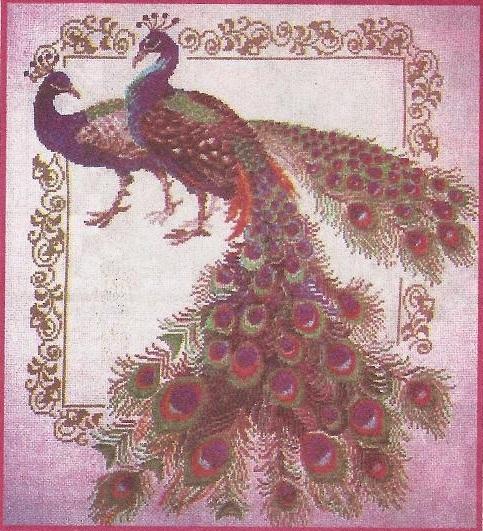 Схема вышивания бисером - Павлины