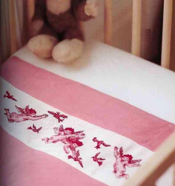 Схема вышивания крестом - Орнамент для детской простыни