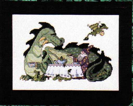 Схема вышивания крестом - Чаепитие с драконом