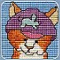 Схема вышивания крестом - Кот в шапке