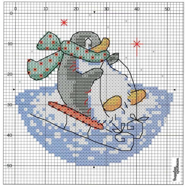 Схема вышивания крестом - Пингвин