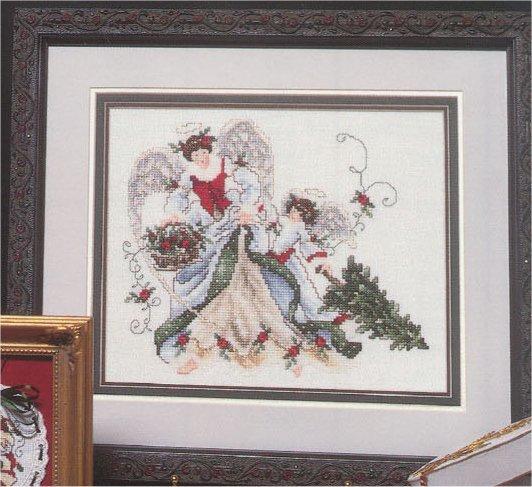 Схема вышивания крестом - Рождественские ангелы