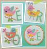 Схема вышивания крестом - Алфавит и цифры с птичками