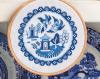 Схема вышивания крестом - Домик с птичками в стиле гжель