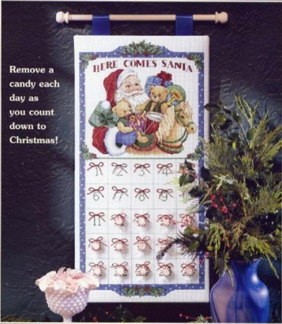 Схема вышивания крестом - Календарь Санты