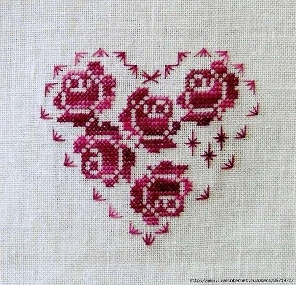 Схема вышивания крестом - Розы и сердце