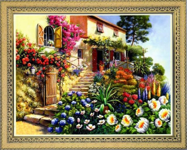 Схема вышивания крестом - Дом в цветах