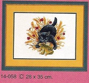 Схема вышивания крестом - Кошка и лягушка