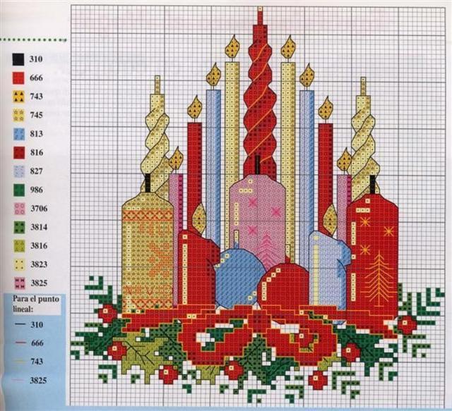 Схема вышивания крестом - Рождественские свечи