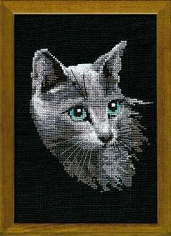 Схема вышивания крестом - Серый кот