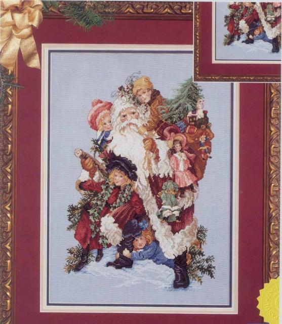 Схема вышивания крестом - Санта с друзьями