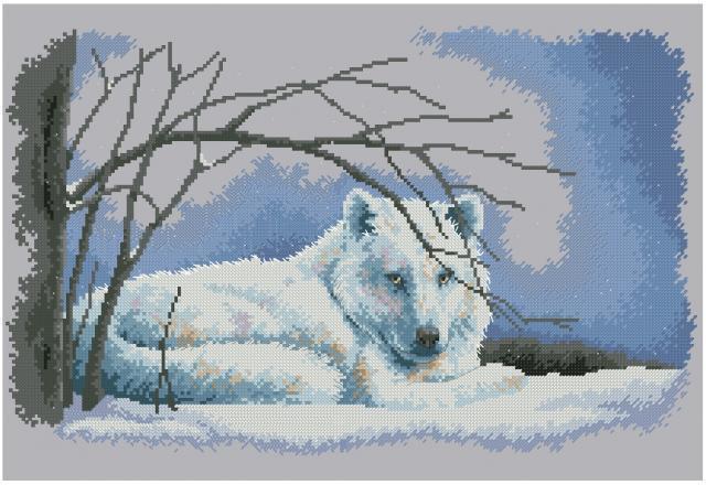 вышивка крестом схемы волк