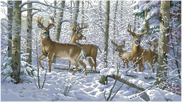 Схема вышивания крестом - Олени в зимнем лесу