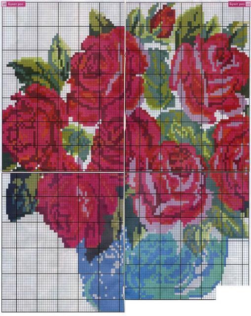 Схема вышивания бисером - Букет роз