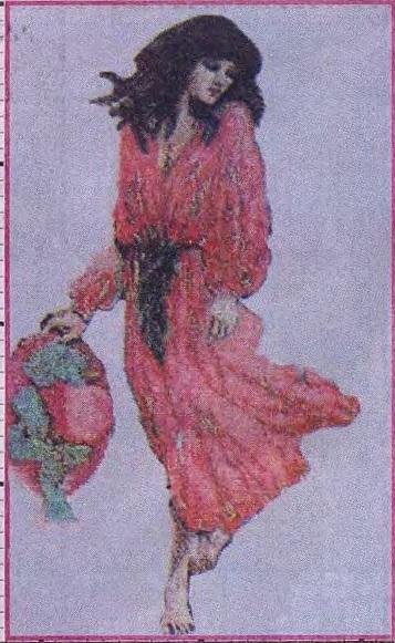 Схема вышивания бисером - Дама в красном