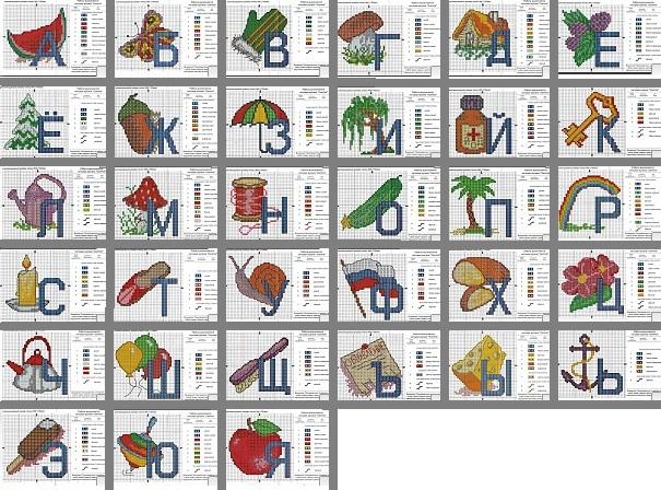 Схема вышивания букв буква и