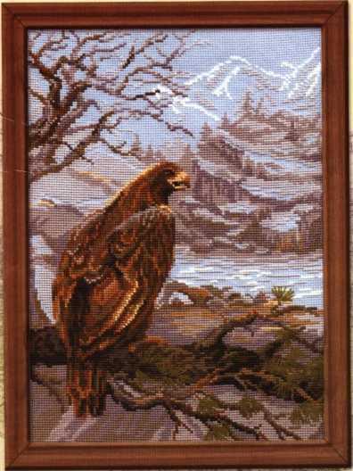 Схема вышивания крестом - Орёл на дереве