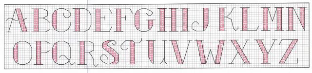 Схема вышивания крестом - Английский алфавит