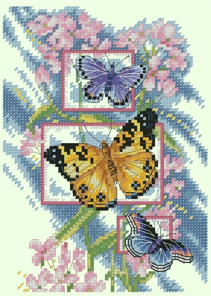 Схема вышивания крестом - Бабочки