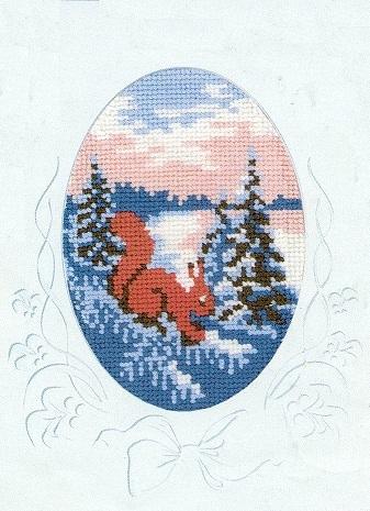 Схема вышивания крестом - Открытка новогодняя