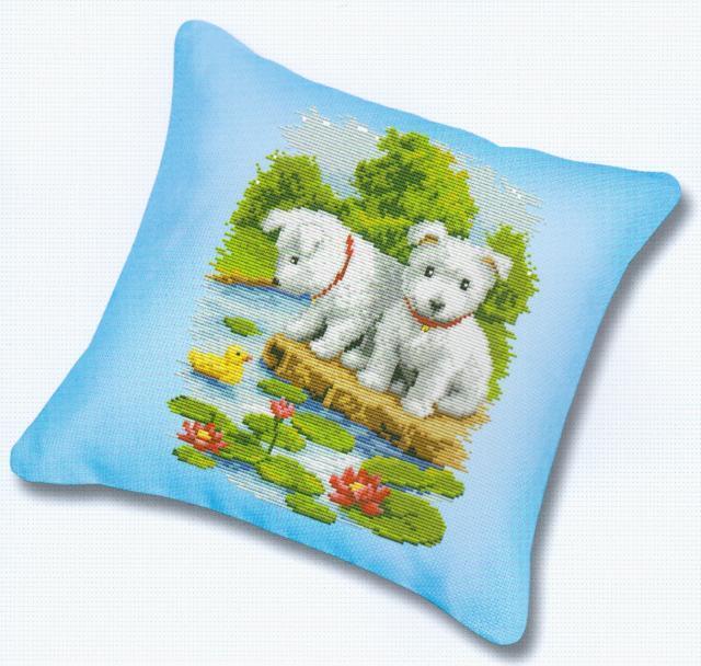 Схема вышивания крестом - Подушка Два щенка