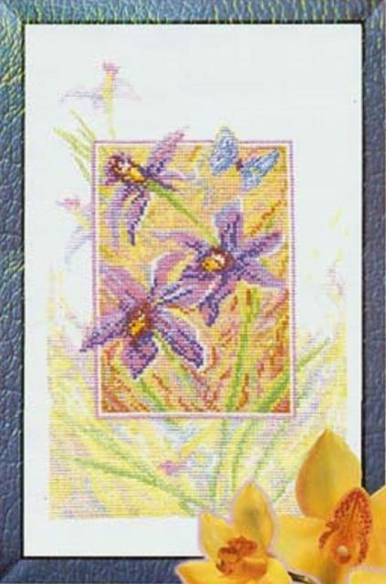 Схема вышивания крестом - Синие орхидеи