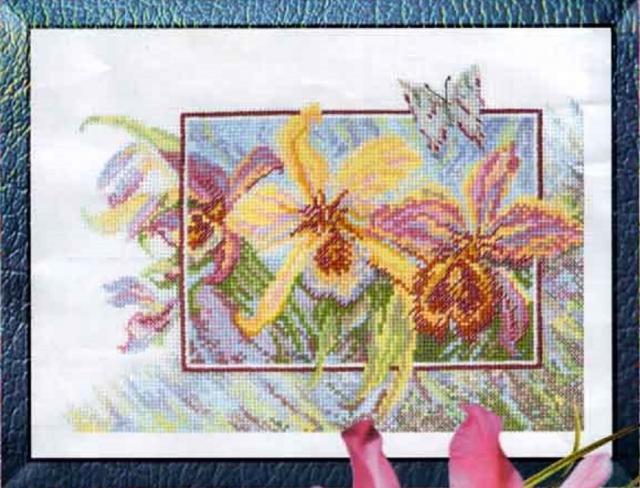 Схема вышивания крестом - Жёлтая орхидея
