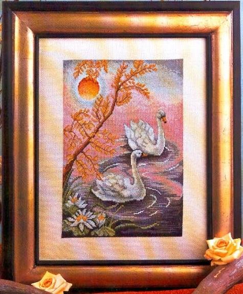 Схема вышивания крестом - Пара лебедей