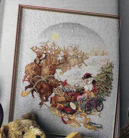 Схема вышивания крестом - Санта Клаус на оленях