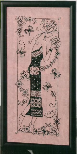 Схема вышивания крестом - Девушка с цветами